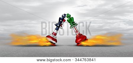 Iran American competition and Iranian war crisis as US military tension conflict or United States middle east imminent threat risk concept as a security problem due to armed confrontation and sanctions as a 3D illustration. stock photo