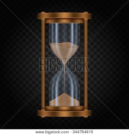 Hourglass with sand on transparent. Sandglass or vintage clock, realistic retro watch or antique stopwatch, running hour glass, sand-glass with reflection. Hour-glass measure deadline. Time and timer stock photo