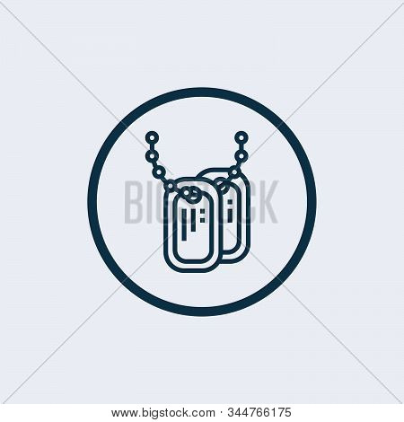 Dog tag icon isolated on white background. Dog tag icon simple sign. Dog tag icon trendy and modern symbol for graphic and web design. Dog tag icon flat vector illustration for logo, web, app stock photo