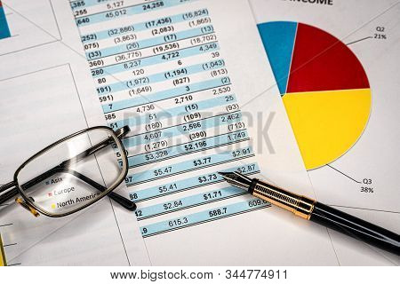 Balance accounting sheet in stockholder report book, balance sheet stock photo