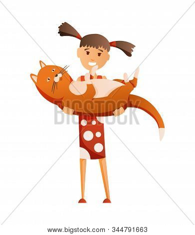 Girl with cat isolated on white background. Holding their domestic animal. Female flat cartoon character. Colorful vector illustration stock photo