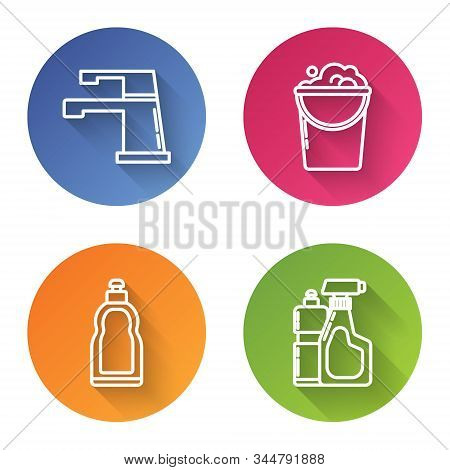 Set line Water tap , Bucket with foam and bubbles , Plastic bottles for liquid dishwashing liquid and Plastic bottles for liquid dishwashing liquid. Color circle button. Vector stock photo