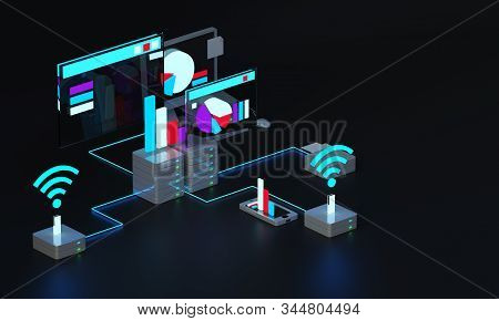 Wireless Internet access. Financial exchange. Finance, Economics and business 3d model WIFI station. Server data. Financial statement. Profit growth charts 3D rendering 3D illustration. stock photo