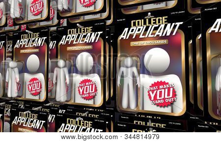 College Applicant Student Apply Admission Action Figures Stand Out 3d Illustration stock photo