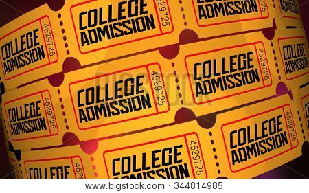 College Admission Student Application Apply Univeristy Ticket Acceptance 3d Illustration stock photo