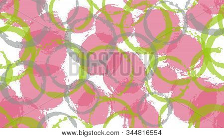Creative hand drawn circles geometry fabric print. Circular splotch overlapping elements vector seamless pattern. Ink texture circles geometry fabric background. stock photo