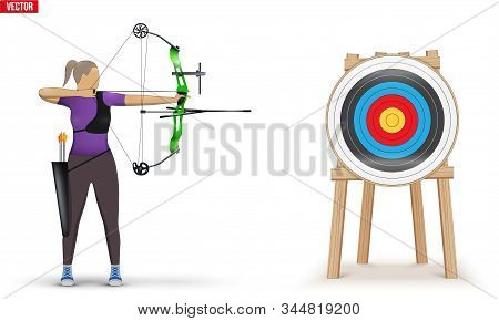 Archer with Bow Archery and Target. Athlete Archer Woman Aiming an arrow. Infographics of Archery Sport Equipment. Vector Illustration isolated on white background. stock photo