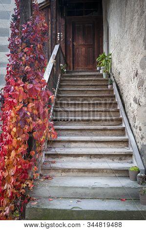 Stein Am Rhein, Switzerland - October 2019: A stairways led to to an old building inside St. George's Abbey, a Benedictine monastery and museum in Stein am Rhein, Switzerland stock photo