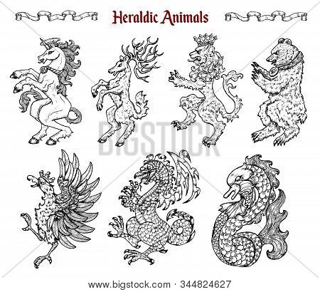 Design set with collection of heraldic beasts and animals like unicorn, dragon, lion isolated on white. Hand drawn engraved illustration with mythology and fantasy creatures, medieval coat of arms stock photo