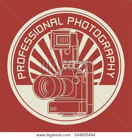 Professional photography badge or stamp, Photography club stamp, vector illustration stock photo