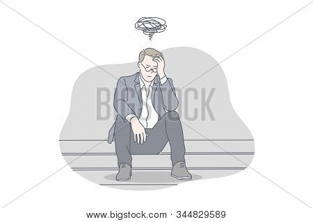 Busines, depression, stress, problem, work concept. Young exhausted, nervous, thoughtful businessman has work problem and got depression. Work may cause raise of stress level. Simple flat vector stock photo
