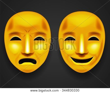 Isolated golden theatrical face mask sadness joy white actor play antique realistic 3d mock up design vector illustration stock photo