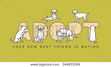 Adopt do not buy. Dog adoption event poster. Lonely puppies waiting for an owner. Rescuing concept. Editable vector illustration in brown and white colors isolated on a green background. stock photo