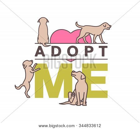 Adopt do not buy. Dog adoption organization poster. Lonely puppies waiting for an owner. Rescuing concept. Vector illustration in brown, green colors isolated on a white background. Charity event stock photo