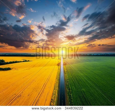 Aerial top view of rural road passing through agricultural land and cultivated fields. Location place of Ukraine, Europe. Drone photography. Concept of agrarian industry. Discover the beauty of world. stock photo