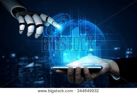 Artificial intelligence AI research of robot and cyborg development for future of people living. Digital data mining and machine learning technology design for computer brain communication. stock photo