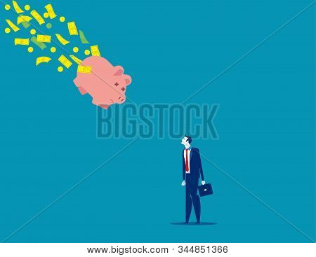 Piggy bank falling with money flying out away. Concept business vector illustration, Bad Economy, Problem, Risk. stock photo