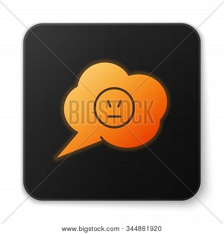 Orange glowing neon Speech bubble with angry smile icon isolated on white background. Emoticon face. Black square button. Vector Illustration stock photo