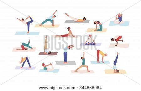 People practicing yoga position set vector flat illustration. Colored cartoon man and woman doing Asana exercise isolated on white background. Healthy lifestyle and physical activity concept. stock photo