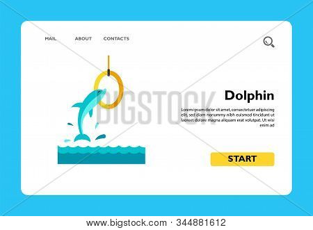 Icon of dolphin jumping in ring. Dolphinarium, aquarium, circus. Aqua park concept. Can be used for topics like leisure, entertainment, animals stock photo