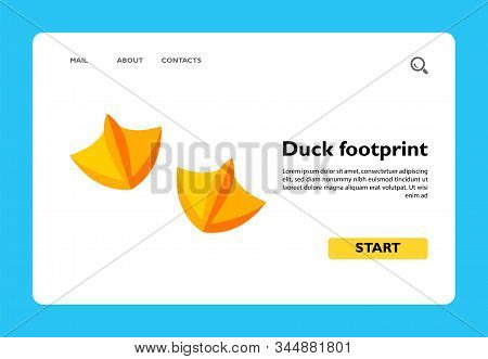 Icon of yellow paws of duck. Animal, footprint, waterfowl family. Animal concept. Can be used for topics like animals, footprint, childrens book or animal track stock photo