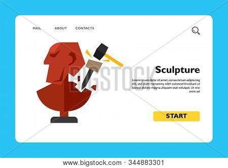 Illustration of unfinished sculpture with chisel and hammer. Creating sculpture, sculptor, occupation, hobby. Art concept. Can be used for topics like art, sculpture, creativity, hobby stock photo