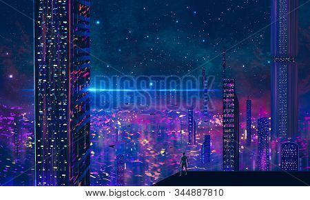 Man standing on roof and look to abstract modern sci-fi colorful city with night sky and stars. 3D illustration. stock photo