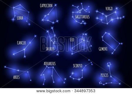 Set of neon constellations. Vector zodiac signs. Horoscope set: Leo, Virgo, Scorpio, Libra, Aquarius, Sagitarius, Pisces, Capricorn, Taurus, Aries, Gemini, Cancer. stock photo