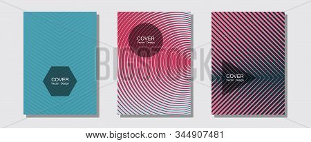 Geometric design templates for banners, covers. Minimal booklets. Halftone lines music poster background. Laconic nifty mockups. Halftone brochure lines geometric design set. stock photo