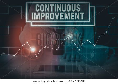 Writing note showing Continuous Improvement. Business photo showcasing ongoing effort to improve products or processes Woman wear formal work suit present using smart latest device. stock photo