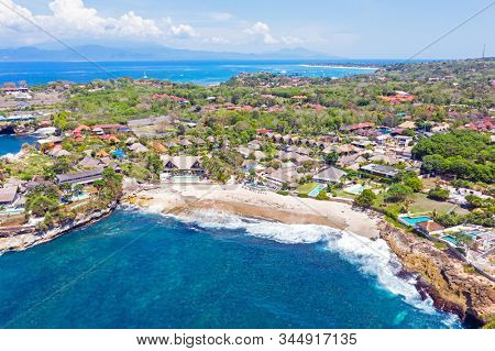 Aerial from Sandy Beach at Nusa Lembongan Bali Indonesia stock photo