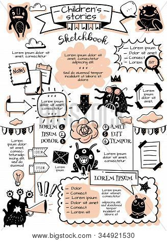 Bullet journal doodle elements infographics. Bullet journal doodle infographics elements and childrens monsters. Hand-drawn cartoon-style pictures. Vertical poster. Vector illustration stock photo