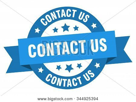contact us ribbon. contact us round blue sign. contact us stock photo