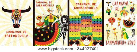 Set of Carnival of Barranquilla posters with people in traditional costumes, animal masks, tropical leaves, Spanish text. Hand drawn vector illustration. Flat style design. Concept for flyer, banner. stock photo