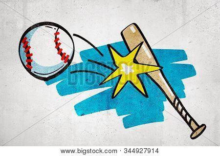 3d rendering of cartoon baseball bat hitting baseball ball on white wall background stock photo