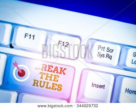 Word writing text Break The Rules. Business concept for Make changes do everything different Rebellion Reform. stock photo