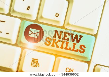 Word writing text New Skills. Business concept for Recently Acquired Learned Abilities Knowledge Competences. stock photo