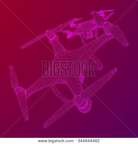 Remote control air drone. Dron flying with action video camera. Wireframe low poly mesh vector illustration stock photo
