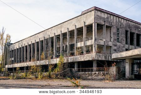 old abandoned hotel in the empty city of Chernobyl without people in Ukraine stock photo