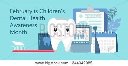 Childrens Dental Health Awareness Month in February concept vector. National Dental Hygiene Month, week, day. Tiny dentist cleaning cute tooth to help toothache stock photo