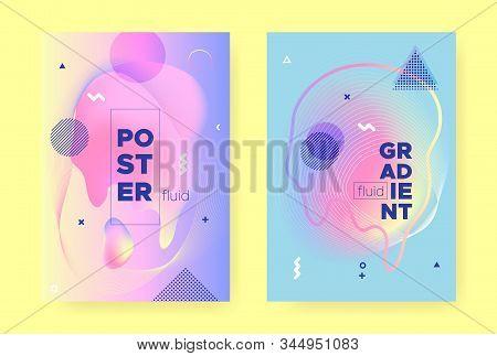 Pastel Fluid Cover. Rainbow Hologram Gradient. Pastel Memphis Illustration. Liquid Shapes. Fluid Pattern. Colorful Hologram Background. Memphis Elements. Flow Shapes. Pastel Fluid Brochure. stock photo