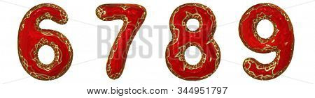Number set 6, 7, 8, 9 made of realistic 3d render golden shining metallic. Collection of gold shining metallic with red color plastic symbol isolated on white background stock photo