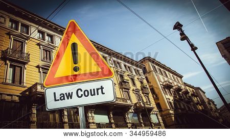 Street Sign the Direction Way to Law Court stock photo