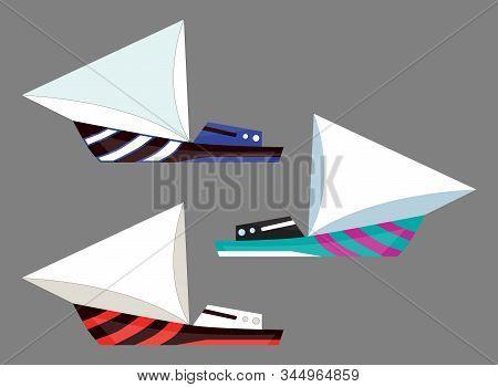 Version sailing boat icons. Flat vector water isolated transport illustration. Ship at sea, travel, shipping boat, motor boat ocean transport stock photo