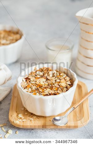 Cherry and Apricot crumble pie. Fruit Crumble with Any Kind of Fruit. Dessert with fruits, oatmeal and almonds. Berry cake, crisp in baking dish. Crispy pastry cake stock photo