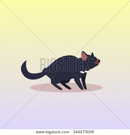 tasmanian devil icon cartoon endangered wild australian animal symbol wildlife species fauna concept flat vector illustration stock photo