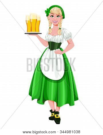 Happy St Patricks Day. Young girl Leprechaun holding three glasses of beer. Beautiful lady in traditional costume, cartoon character. Vector illustration stock photo