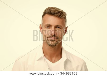 Kind glance. Male natural beauty. Man attractive well groomed facial hair. Barber shop concept. Barber hairdresser. Man mature good looking model. Anti ageing. Handsome man looking at camera close up. stock photo