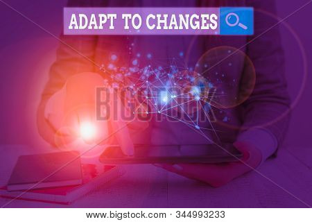Handwriting text writing Adapt To Changes. Concept meaning Embrace new opportunities Growth Adaptation progress. stock photo