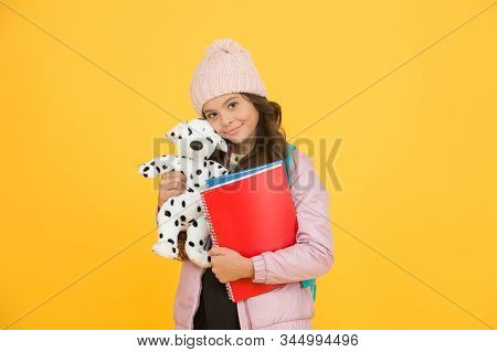 School and education. Care and treatment of animals. Studying veterinary medicine. Happy child hold toy dog and books. Little girl smile with soft toy. School classes. Toy dog. Learn and play. stock photo